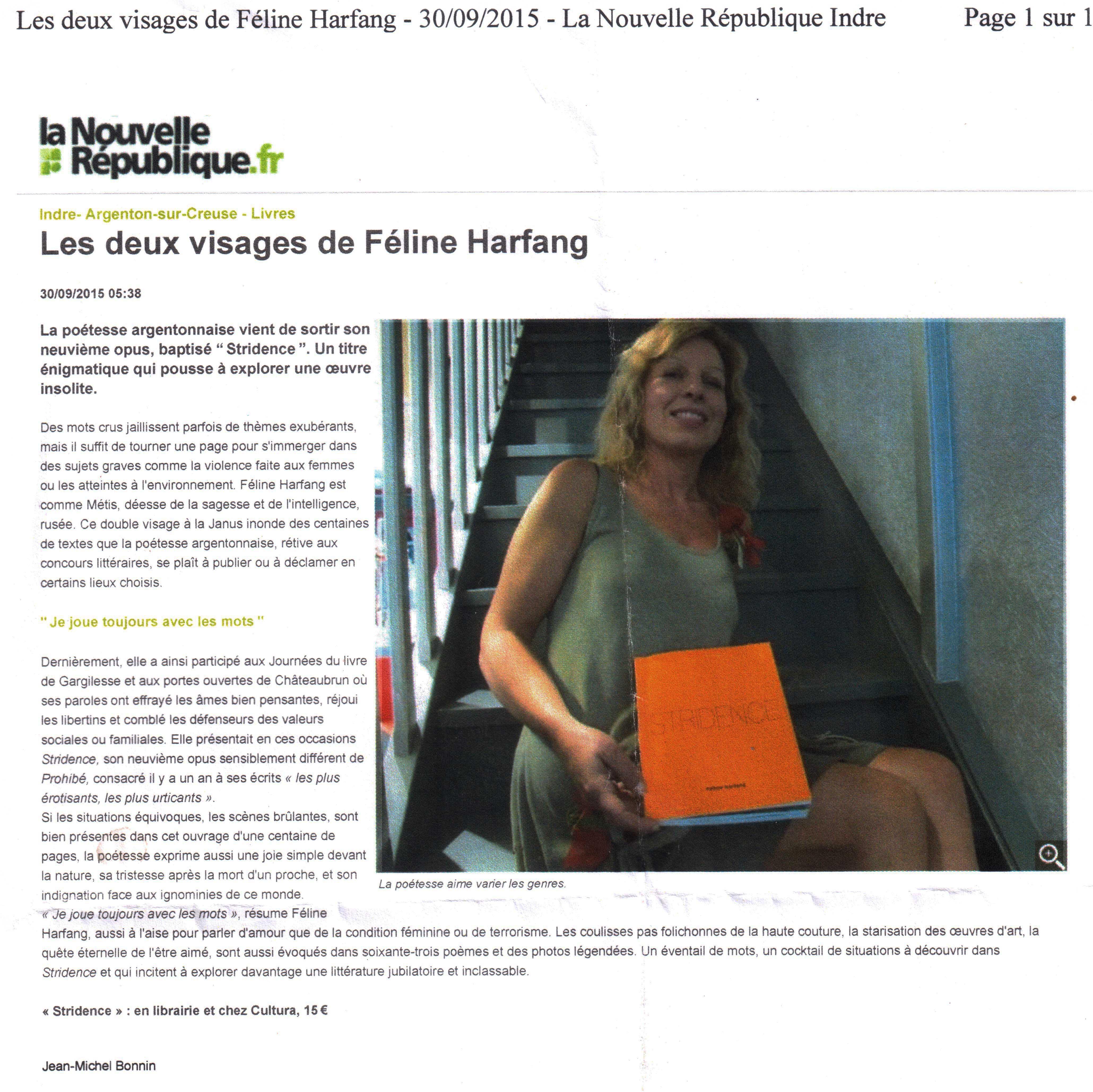 Les deux visages de Féline Harfang-Article de Jean-Michel BONNIN. La Nouvelle Republique du 30/09/2015