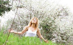 feline devant fleurs blanches